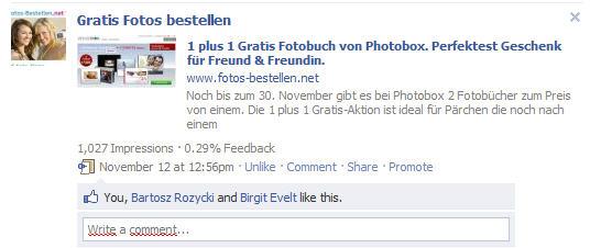 impressionen & feedback auf facebook fanpage