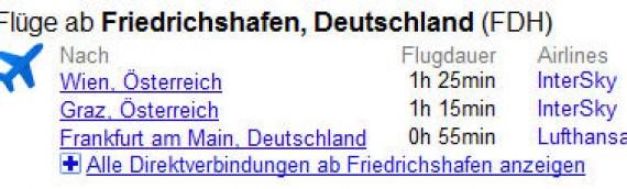 Flug von Friedrichshafen nach Wien – Google startet integrierte Flugsuche