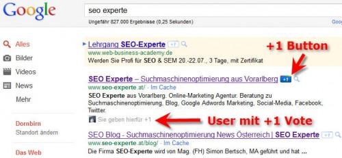 +1 in Google Suchergebnissen
