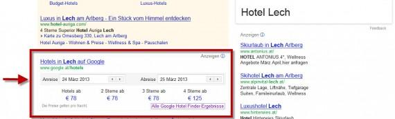Google Hotelsuche direkt in Suchergebnissen als Hotel-Finder