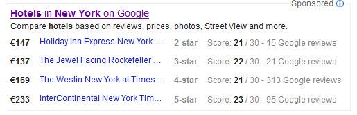 Hotels Listing in Google Suchergebnissen