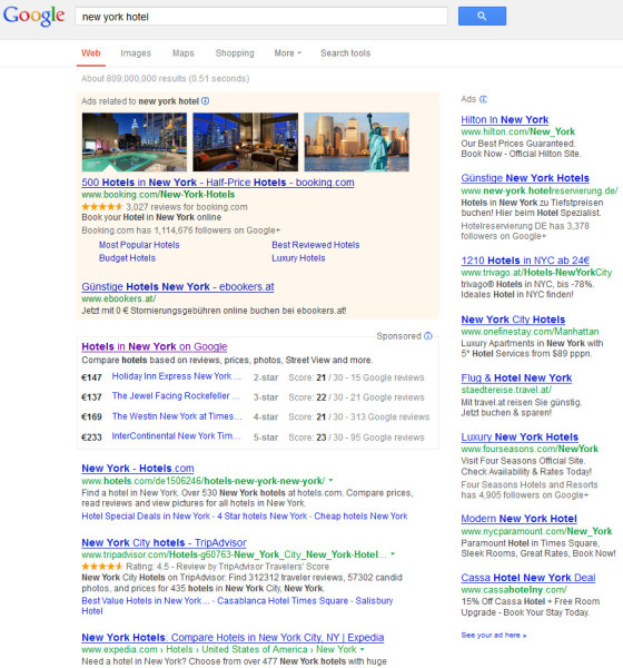 Neue Google Hotelsuche