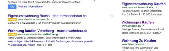 """Neue Adwords Anzeigen Kennzeichnung mit """"Anzeige"""" statt gelbem Hintergrund"""
